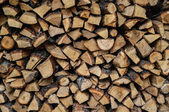 Dry wood chips piled in logs Stock Photos
