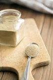 Dry yeast in spoon Stock Images