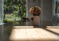 Dry yellow flower bouquet in the metal vase on wood table in the Stock Photos