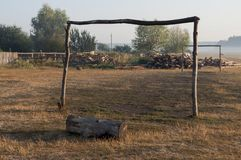 Dry yellow grass in the meadow. Foggy weather. Morning landscape with firewood behind. Background.  stock photos
