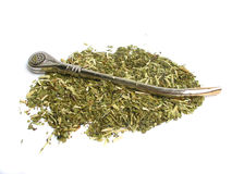 Dry yerba mate leaves Royalty Free Stock Photos