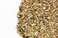 Dry Yerba Mate leaves on white background Royalty Free Stock Images