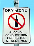 Dry Zone. Traffic sign bans drinking alcohol Stock Photo