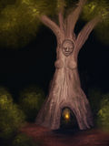 Dryad. Digital painting of a dryad tree woman in a dark fantasy forest Royalty Free Stock Photography