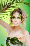 Dryad girl with fern Royalty Free Stock Photos
