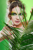 Dryad girl with fern Royalty Free Stock Image