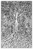 Dryad or Nymph. Engraved fantasy illustration Stock Images