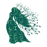 Dryad nymph forest pattern silhouette ancient mythology fantasy. Vector illustration vector illustration