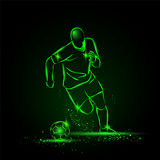 Dryblować futbol Gracza piłki nożnej bieg z piłką tła czarny ikon neon umieszczał styl sześć royalty ilustracja