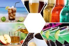 Drycker för collage för drinkmenysamling dricker restaurangstången royaltyfri fotografi