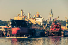 Drydock in Gdynia Shipyard on 13 Juny 2015, Poland Stock Photos