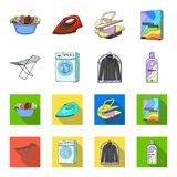Dryer, washing machine, clean clothes, bleach. Dry cleaning set collection icons in cartoon,flat style vector symbol. Stock illustration Stock Photos