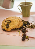 Dryfruit e café dos Scones Fotografia de Stock Royalty Free