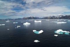Dryftowy lód, linia brzegowa, Greenland Obrazy Royalty Free