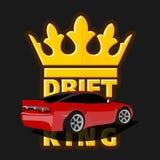 Dryftowy samochodowy logo, dryftowy królewiątko emblemat, etykietka, plakat lub projekta druk, royalty ilustracja