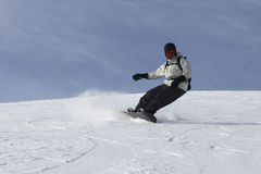 dryfującego mężczyzna namiętny jazda na snowboardzie Zdjęcie Stock