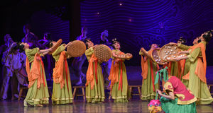 """Drying in autumn-Dance drama """"The Dream of Maritime Silk Road"""". Dance drama """"The Dream of Maritime Silk Road"""" centers on the plot of two royalty free stock photography"""