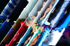 Drying baby clothes. Close-up of drying baby clothes royalty free stock photos