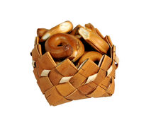 Drying, bagels, basket, isolate, white background Stock Photos
