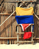 Drying bath towels and swimming trunks Stock Images