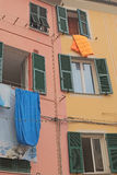 Drying bedclothes outdoors. Vernazza. Cinque Terre. Italy Royalty Free Stock Photography