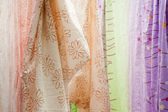 Drying  bedspread  hanged on the clothes horse Royalty Free Stock Image
