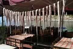 Drying calamari. At pelopponese in mani tavern Stock Photography