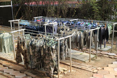 Drying camouflage clothing Royalty Free Stock Image