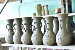 Drying ceramic vase Stock Photography