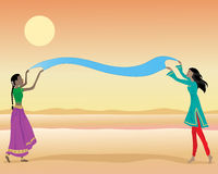 Drying cloth. An illustration of indian ladies wearing colorful traditional clothing drying a piece of dyed cloth under a hot sun Royalty Free Stock Photography