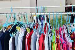 Drying cloth and hanger on cloth line Royalty Free Stock Photography