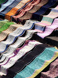 Drying Clothes. Blankets laid for drying in sunlight on the staircases of a temple in India Royalty Free Stock Photos