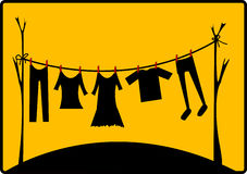 Drying clothes vector illustration