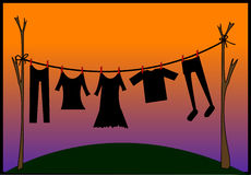Drying clothes. Clothes are drying after washing Stock Image