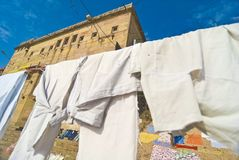 Drying Clothes. Clothes drying in sunlight in the city of Varanasi, India Royalty Free Stock Photography