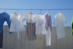 Drying clothes Royalty Free Stock Images