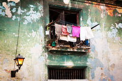 Drying clothes on the balcony Royalty Free Stock Photo