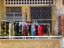 Drying clothes on the balcony Royalty Free Stock Photography