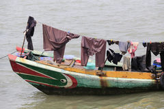 Drying clothes on the boat Stock Image