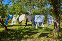 Drying clothes. Royalty Free Stock Image
