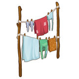 Drying clothes in the fresh air in cartoon style Stock Photography