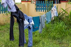 Drying Clothes In Garden royalty free stock photography