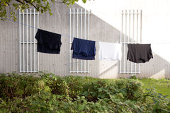 Drying clothes. How clothes are drying on the sun Stock Photo