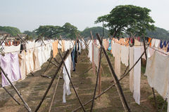 Drying clothes in India. Old traditional laundry in Kochi (Cochin), Kerala, India Royalty Free Stock Image