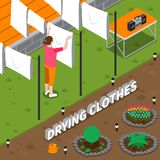 Drying Clothes Isometric Composition Royalty Free Stock Images