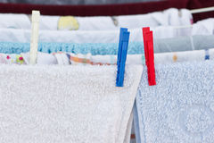 Drying clothes after laundry Royalty Free Stock Photography