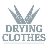 Drying clothes logo, simple gray style Royalty Free Stock Photo