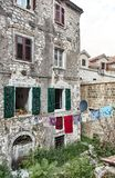 Drying clothes. Montenegro. The Town Of Kotor. Streets of old Kotor. royalty free stock photography