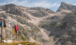 Drying clothes in mountains Royalty Free Stock Image