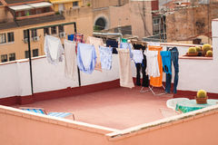 Drying clothes in the open space in Tarragona Spain. Roof Tarr. Agona Royalty Free Stock Photography